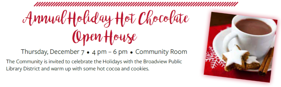 Holida Hot Chocolate at the Broadview Library