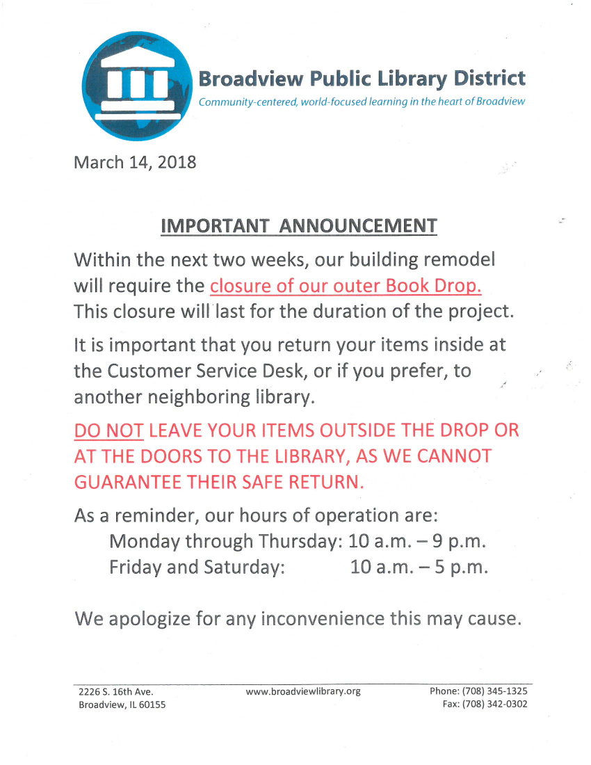 closure of outer book drop